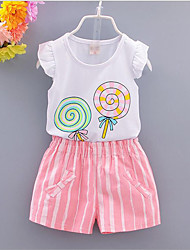 Girl Cotton Clothing Set,Summer Short Sleeve