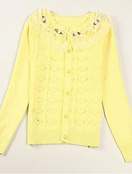 Girl's Casual/Daily Solid Sweater & Cardigan,Cotton Spring / Fall Brown / Pink / Red / Yellow