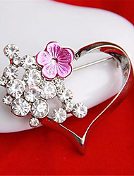 Unique Design Fashion Ornament Girl Rhinestone Heart Ladies' Alloy Costume Brooches