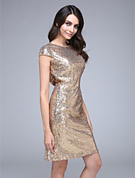 TS Couture® Cocktail Party Dress Sheath / Column Bateau Knee-length Sequined with Sequins