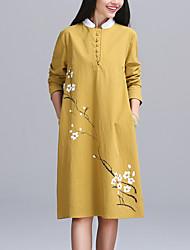Mulheres Solto Vestido,Casual Moda de Rua Floral Colarinho Chinês Altura dos Joelhos Manga Longa Azul / Vermelho / Amarelo Algodão / Linho