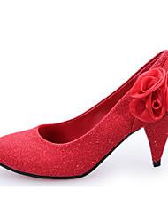 Красный / Серебристый / Золотистый-Женский-На каждый день-Лак-На толстом каблуке-На каблуках-Обувь на каблуках