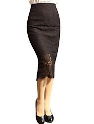 Women's Solid Slim Over Hip Split Hollow Out Lace Hook High Rise Skirts,Sexy Midi