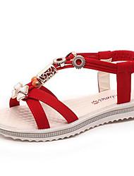 Women's Shoes Sweet Bohemia Fleece Beading Flat Heel Comfort / Round Toe Sandals Casual Black / Red / Beige
