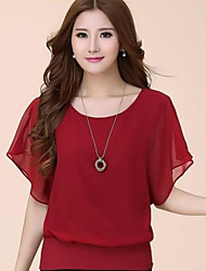 Damen Solide Übergröße / Street Schick Lässig/Alltäglich T-shirt,Rundhalsausschnitt Sommer Kurzarm Blau / Rot / Weiß / Schwarz / Lila