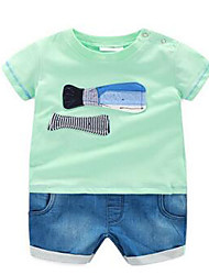 Для мальчиков Тонкая ткань Слабоэластичная Для мальчиков Комбинезон,С короткими рукавами,Хлопок,Лето
