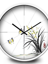 Elegant Ink Orchid Decorative Home Furnishing Mute Quartz Wall Clock