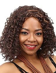 дешевый поддельные волосы вьющиеся парик Afro коричневый термостойкие синтетические парики