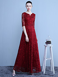 Formal Evening Dress A-line Notched Floor-length Lace with Appliques