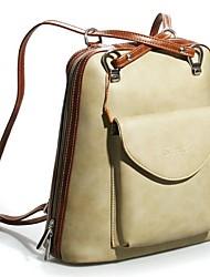 Women-Casual-PU-Backpack-Coffee / Gray / Khaki