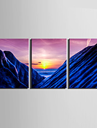 E-HOME® Stretched Canvas Art Blue Mountains Under The Setting Sun Decoration Painting  Set Of 3