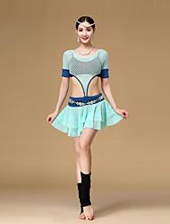 Latin Dance Dresses Women's Training Modal Draped 1 Piece Black / Orange / White / Sky blue Short Sleeve Dropped Dress