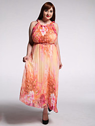 Mujer Corte Swing Vestido Playa Tallas Grandes Boho,Estampado Escote Redondo Maxi Sin Mangas Amarillo Poliéster Verano Tiro Alto