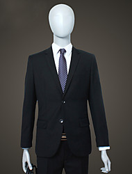 Suits Slim Fit Notch Single Breasted Two-buttons Polyester Solid 2 Pieces Black Straight Flapped None (Flat Front) Black None (Flat Front)