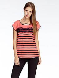 Herz Soul® Damen Rundhalsausschnitt Kurze Ärmel T-Shirt Orange-10A2BS9242