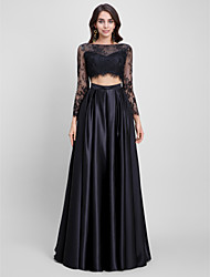 Corte en A Bateau Neck Larga Encaje Satén Baile de Promoción Evento Formal Vestido con Encaje por TS Couture®