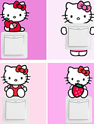 10 Style Lovely Hello Kitty Cats Cartoon Light Switch Stickers DIY Fashion Bedroom Living Room Wall Decals