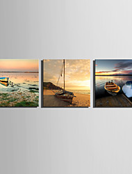 E-HOME® Stretched Canvas Art A Boat Parked On The Shore Decoration Painting  Set of 3