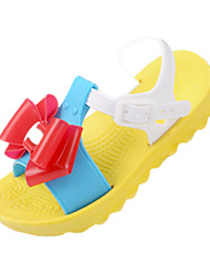 Girls' Shoes Casual PVC Not Specified Summer Comfort / Open Toe Flat Heel Bowknot Blue / Yellow / Green