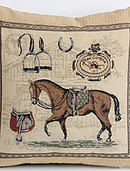 Linen Pillow Cover/Case ,  Woven Traditional/Classic Handsome Horse Feature