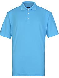 Lesmart Hombre Escote Chino Manga Corta Camiseta Azul / Negro / Gris / Naranja-TK16308