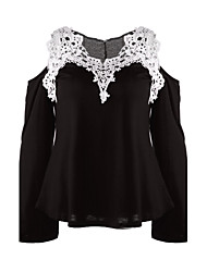 Women's Sexy Strap Long Sleeve Lace Patchwork  T-shirt