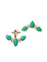 European Luxury Gem Geometric Earrrings Vintage Anchor Stud Earrings for Women Fashion Jewelry Best Gift