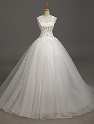 Ball Gown Wedding Dress Court Train Jewel Lace / Tulle with Appliques / Beading / Lace