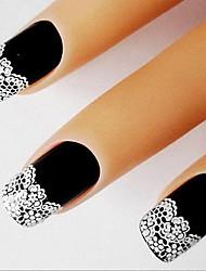 nouvelle vignette arrivée français nail art avec des fleurs en dentelle blanche autocollant décoration des ongles