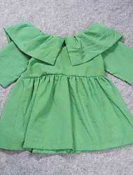 Vestido Chica de-Casual/Diario-Un Color-Algodón / Poliéster-Verano-Verde