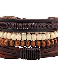 Bracelet Bracelets Cuir Forme Géométrique Mode Bohemia style Ajustable Quotidien Décontracté Regalos de Navidad Bijoux Cadeau Brun,1pc