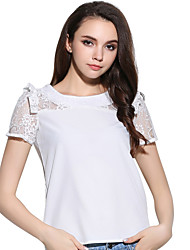 Women's Casual/Daily Sexy / Cute Summer T-shirt,Solid Round Neck Short Sleeve White Others Medium