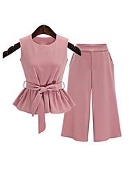 Damen Solide Einfach Lässig/Alltäglich T-shirt,Rundhalsausschnitt Sommer Ärmellos Rosa Polyester Undurchsichtig