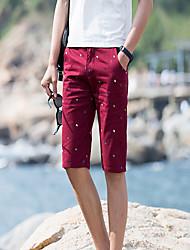 Men's Print Casual Shorts,Cotton Green