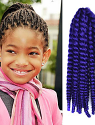 "Purple 12"" Kid's Kanekalon Synthetic 2X Havana Mambo Twist 100g Hair Braids with Free Crochet Hook"