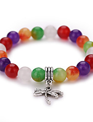 New Arrival Natural Colorful Agate With Dragonfly Pendant  Beads Bracelet  #YMGS1027