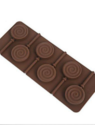 1PCS6 lattices in circles chocolate molds Round Shape Lollipop Silicone Mold, Jelly, Chocolate, Soap ,Cake Decorating