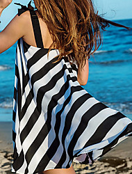 Women's Bandeau Cover-Up,Color Block Polyester White