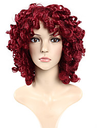 Europe and America Ladies Synthetic Wigs Wave Burgundy Color 99J Synthetic Wigs
