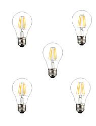 5pcs a60 5w e27 500lm dimmable à 360 degrés chaud couleur blanche led lumière filamentaire