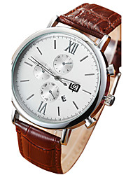 Men's Calendar White/Black Case Black/Coffee Leather Band  Dress Wrist Watch