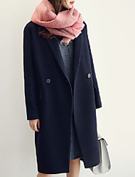 Women's Casual/Daily Simple Coat,Solid Shirt Collar Long Sleeve Winter Pink / Black Wool / Cotton Thick
