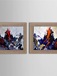 Oil Painting Modern Abstract Sea Wave Scenery Set of 2 Hand Painted Natural linen with Stretched Frame