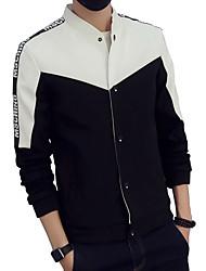Men's Long Sleeve Casual / Work / Formal / Sport / Plus Sizes Jacket,Cotton / Polyester Patchwork Black / Blue / White