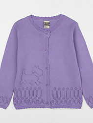 Girl's Casual/Daily Solid Blouse,Cotton Fall Purple / White