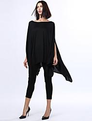 De las mujeres Tallas Grandes Vestido Tallas Grandes / Casual Un Color Asimétrico Escote Redondo Mezclas de Algodón