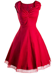Women's Going out / Casual/Daily Vintage / Street chic Sheath Dress,Solid Sweetheart Knee-length Short Sleeve