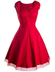 Damen Hülle Kleid-Ausgehen / Lässig/Alltäglich Retro / Street Schick Solide Sweetheart Knielang Kurzarm Blau / Rosa / Rot / Schwarz / Grün