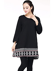 Women's Plus Size / Casual Street chic Loose Thin Dress,Patchwork Round Neck ¾ Sleeve Pink / Red / Black Cotton