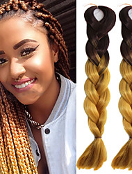 "1 Pack Brown Ombre Gold Yellow Crochet 24"" Yaki Kanekalon Fiber 100g 2 Tone Jumbo Braids Synthetic Hair with Free Hook"